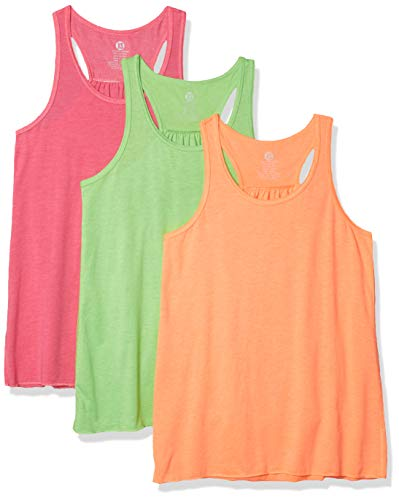 Epic MMA Gear Flowy Racerback Tank Top, Regular and Plus Sizes Pack of 3 (L, Coral/Vapor/Rose Dust)