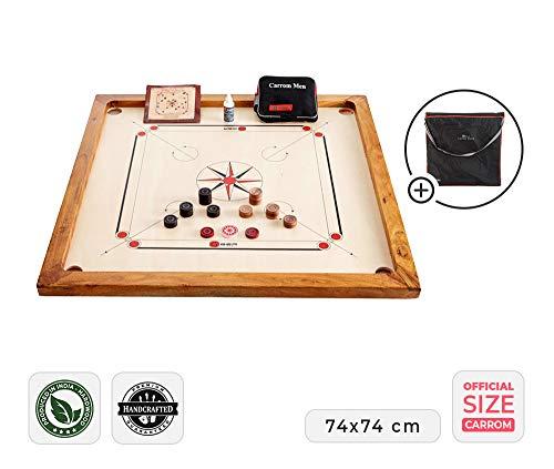 Ubergames Carrom Board Set offizielle Größe 7 kg - Top ECO-Hartholz Qualität - Komplettes Set mit Offiziellen Scheiben und Pulver (Carrom mit Tasche)