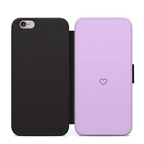 Púrpura pequeño Loveheart lindo dibujo suave dibujos animados pastel teléfono caso cuero Flip cubierta para Sony Xperia Z5