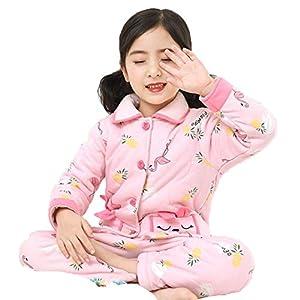Ropa de Dormir Linda de Invierno para Niñas Pijama Conjunto de Manga Larga más Gruesas 100% algodón Tops Camisetas+Pantalones Outfit Pijama para niños Rosado