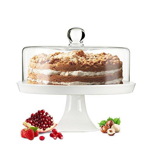 Campana di vetro porta torta o formaggio, con base in porcellana e piatto per torta