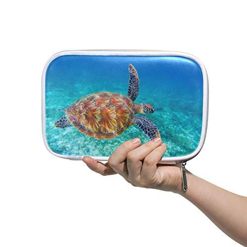 Bardic Pen Pencil Case Ocean Animal Sea Turtle Makeup Brush Bag Travel Organizer Cosmetic Pouch Passport Holder for Men Women