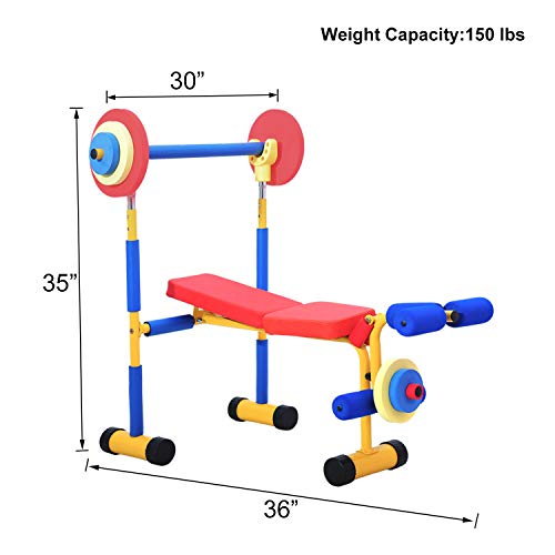 Kinsuite Kids Fun and Fitness Adjustable Exercise Equipment for Children Workout Weight Bench Set,Birthday Gifts Toy