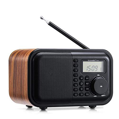 Versatile Retro Wood grain Bluetooth Speaker FM Radio with Front Keyboard and Digital Display - Alarm Clock¡¢Rotary Dial¡¢Bluetooth 4.2 Speaker¡¢USB Port¡¢TF Card Slot¡¢Aux-in Jack¡¢2¡Á18650 Batteries