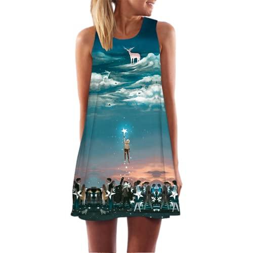 Vestido Sin Tirantes con Cuello Redondo Falda Midi Estampada para Mujer Vestido De Verano Falda Informal Suelta para La Playa Fiesta Falda para El Sol Chaleco Falda S
