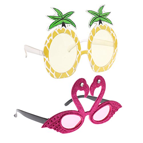 Hellery 2X Novedad Flamingo Piña Gafas De Sol Beach Party Gafas Atrezzo