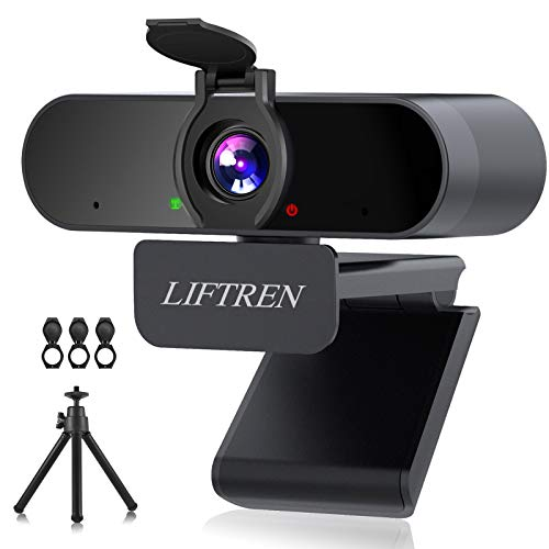 LIFTREN Webcam mit Mikrofon für PC, USB Webcam mit Mikrofon und Lautsprecher, Full HD Webcam 1080P for Streaming/Videokonferenz/Video Chat/Gaming, Laptop/Desktop, Mac/Windows