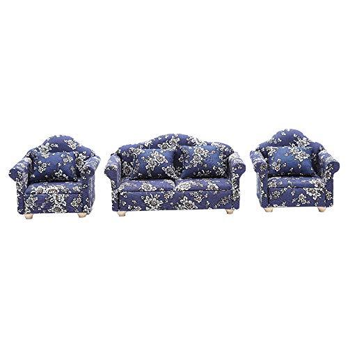 LQKYWNA 1/12 Miniatura del Patrón Mini Sofá Algodón Floral De Estar ¿Muebles De La Sala De Modelo para Las Muñecas De Bricolaje Decoración para El Hogar (3)