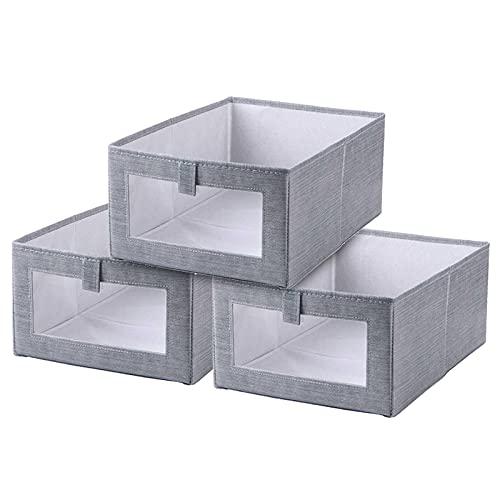Queta Cajas de Almacenaje Plegable Conjunto 3 Cajones de Repuesto para Unidad de Almacenamiento de Tela con Ventana Transparente Organizadores de Contenedore para Ropa Libros (gris, Grande)
