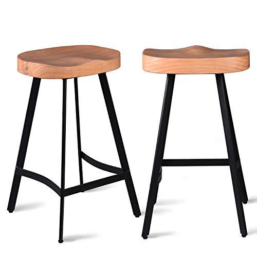 Lokkhan Industrie-Barhocker, Sattelsitz, 68 cm Höhe, Küchenhocker, Esszimmerhocker, rückenfrei, stapelbar, vollständig verschweißt hellbraun