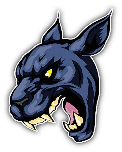 Tiukiu Fierce Black Panther Mascotte Adesivo in Vinile per Laptop, Frigorifero, Chitarra, Auto, Moto, Casco, Cassetta degli Attrezzi, 10,2 cm di Larghezza, Vinile, Multi, 4 inch in Width