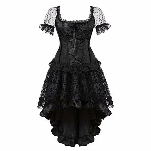 Corsage schwarz Corsagenkleid elegant Kleid Korsett Ärmel Spitze Vollbrust Gothic Rock Burlesque sexy Damen Größe Größen XL