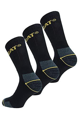 Caterpillar Lot de 6 paires de chaussettes de travail pour homme, noir, Taille 40–45
