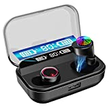 SYOSIN Ecouteur Bluetooth 5.0, Oreillette Bluetooth sans Fil Sport 4000mAh Boîte de Charge Étanche IPX7 HiFi Stéréo Casque avec Microphone, CVC 8.0 Réduction du Bruit Casque pour Gym/Joggin