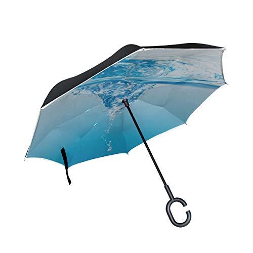 Paraguas invertido Plegable de Doble Capa Invertida Mirando la Muy cómoda bañera de hidromasaje de Agua Paraguas Plegable de Viaje Paraguas Plegable Protección a Prueba de Viento para la Lluvia con m