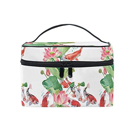 Emoya Trousse de toilette aquarelle avec poignée pour femme et fille Motif fleur de lotus