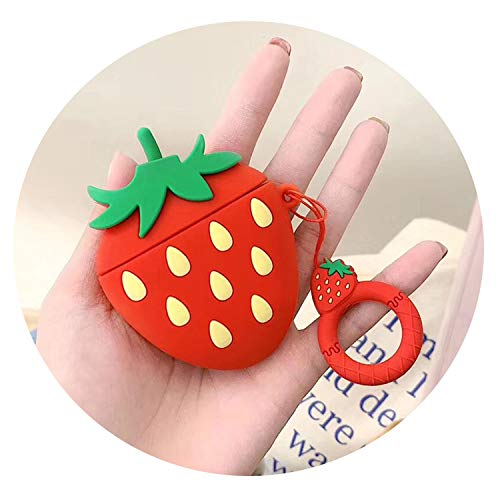 Krystal_Magic Quicksand Fruit Wireless Bluetooth Earphone Case for Apple AirPods Silicone Headphones Cases for Airpods2 Protective Cover,Strawberry