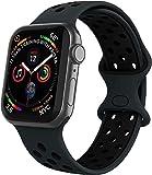VIKATech Compatible Cinturino per Apple Watch Cinturino 44mm 42mm, Due Colori Morbido Silicone Traspirante Cinturini Sportiva di Ricambio per iWatch Series 6/5/4/3/2/1, S/M, Obsidian/Ne