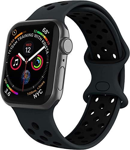 VIKATech Compatible Cinturino per Apple Watch Cinturino 44mm 42mm, Due Colori Morbido Silicone Traspirante Cinturini Sportiva di Ricambio per iWatch Series 6/5/4/3/2/1, M/L, Obsidian/Nero