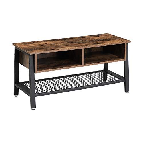 VASAGLE TV-tafel in industrieel design, TV-tafel, lowboard, salontafel, stabiel, met metalen frame en rasterplank, 2 laden, gebruikte look, vintage, donkerbruine LTV92X