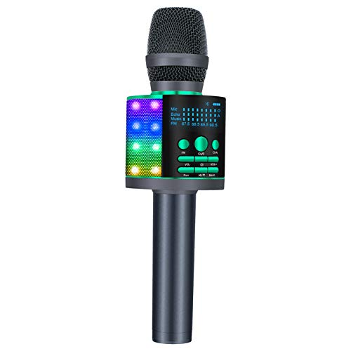 BONAOK Upgraded Bluetooth Wireless Karaoke Microphone with LED Screen, Portable Mic Sing Machine with Colorful Lights and Magic Sound, for Car iPhone/Android/iPad/PC(Green)