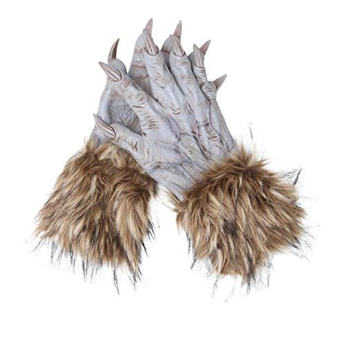 Amosfun Wolf Hände Latex Schrecklich Beängstigend Werwolf Monster Krallen Handschuhe Kostüm Requisite für Halloween Cosplay Party