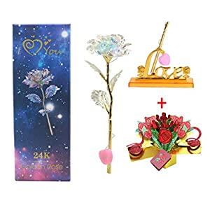 Upgraded Galaxy LED Rose Mother's Day 2019 Gift Crystal LED Line Light 3D Pop Up Greeting Card Beauty & The Beast Anniversary Valentines Day Birthday Wedding Engagement (UpgdCRD)