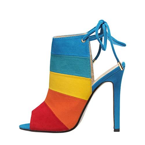 Deloito 2019 Sommer Damen Freizeit Römisch Sandaletten Schnüren Robust High Heel Peep Toe Schuhe Farbabstimmung Sexy Fischmaul Sandalen (39 EU, Mehrfarbig)