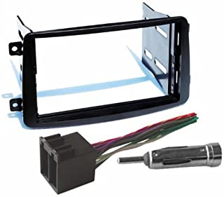 Mercedes-Benz 2001-2004 C Class / 2002-2004 G Class Double Din Aftermarket Radio Stereo Installation Dash Kit + Wire Harness & Antenna Adapter