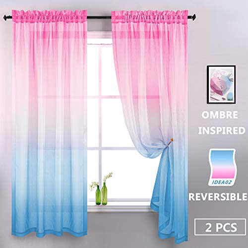 Baby Pink and Baby Blue Curtains for Girls Bedroom Decor Set 2 Panels Gradient Ombre Window Sheer Curtains for Girls Room Gender Reveal Party Supplies Decoration Backdrop Boys Kids Princess 84 Length