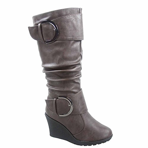 TOP Moda Pure-65 Women's Fashion Round Toe Slouch Buckle Wedge Mid Calf Boot Shoes (5.5 B(M) US, Brown)