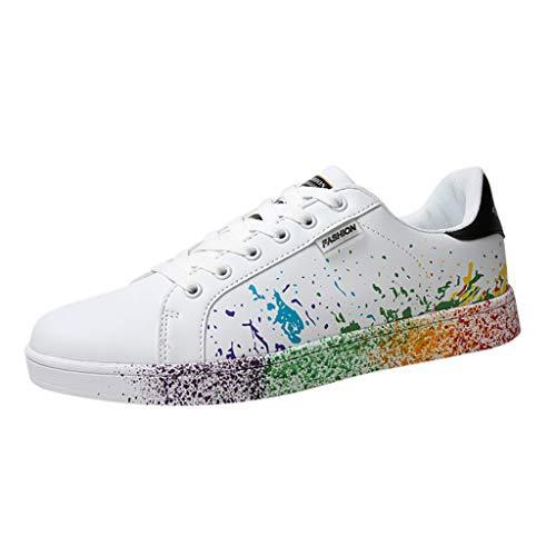 Damen Schnürhalbschuhe Schnürung Schuhe Graffiti Druck Schnürschuhe Sneaker Frauen sportlicher Schnürer Freizeitschuh(1-Schwarz/Black,37)