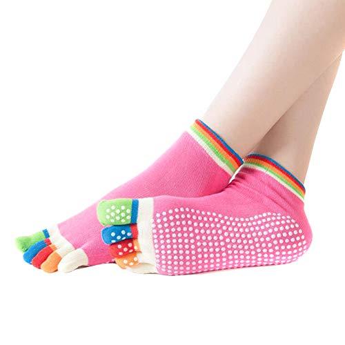BULABULA 1 par de calcetines de yoga para mujer, antideslizantes, transpirables, para fitness, pilates y entrenamiento
