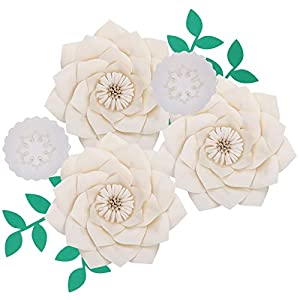 Fonder Mols Artificial Dahlia Paper Flower Decorations for Nursery Wall Decor, Baby Shower Backdrop (Ivory)