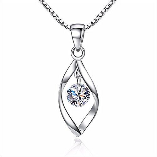 AIUIN 1 Halskette für Damen, drehbarer Anhänger mit Kristall-Diamant, Geschenkidee für Mädchen, Schmuck für Damen (mit einem Schmuckbeutel)