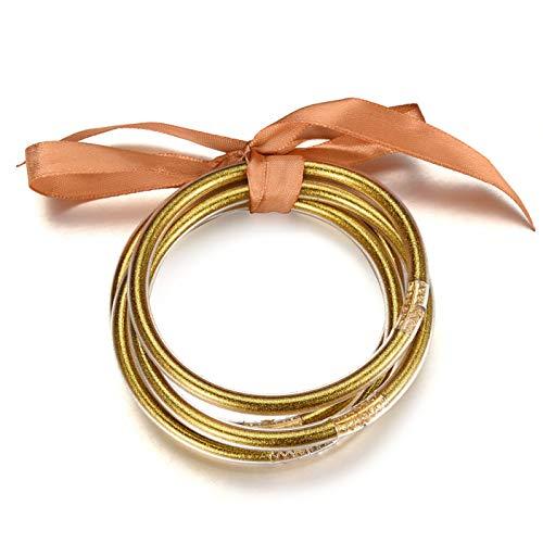 Filluck Glitter Jelly Bangle Set Gold Powder Lining Lightweight All Weather Bracelets Fashion Jewelry for Women Girls