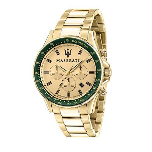 Maserati Reloj para Hombre, Colección Sfida, en Acero Inoxidable, PVD Oro Amarillo, con Correa de Acero Inoxidable - R8873640005