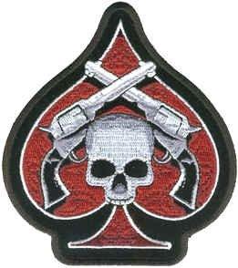 Extra Große Ace of Spades Skull on Guns &Iron on Sew Motorrad Biker Aufnäher Patch
