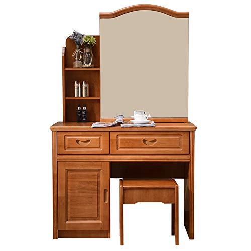 Review ShurndGao Dressing Table with Stool Inlaid Wood Dresser Mirror Dresser Vanity Dresser Drawer ...