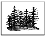 Trees & Forest Wall Art Decor - 14x11' UNFRAMED Print - Black & White Watercolor Nature Wall Art - Country Rustic, Scandinavian, Nordic, Minimal Evergreen Pine Forest