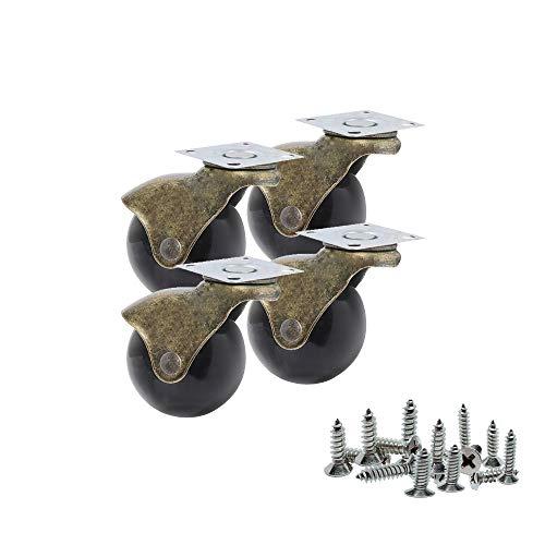 Youngine 4er Pack, antike Kugelrollen, Platte Lenkrollen mit 360 ° Drehung für Möbel, Ottomane, Sofa, Schränke, Rollstühle (2 Zoll)