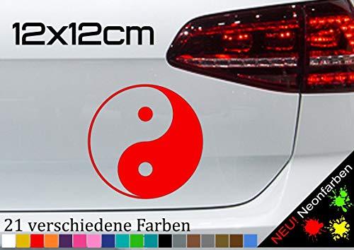 Pegatina con el símbolo de la medicina china JDM, 12 x 12 cm, en 21 colores