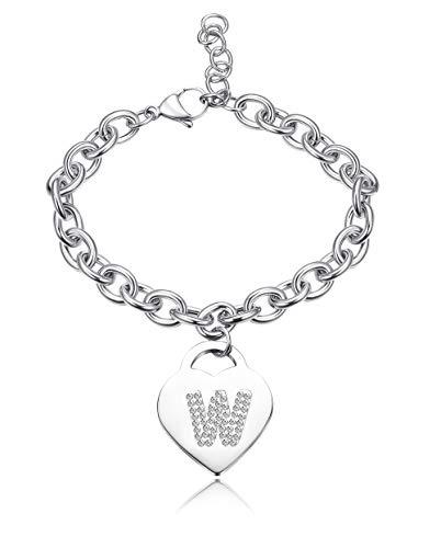 Besteel Stainless Steel Bracelet Initial for Women Girls Heart Pendant...