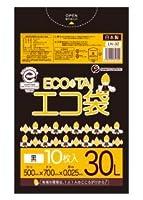 ゴミ袋 ECOTAI ECO 30L 500x700x0.025厚 黒 10枚バラ LLDPE素材