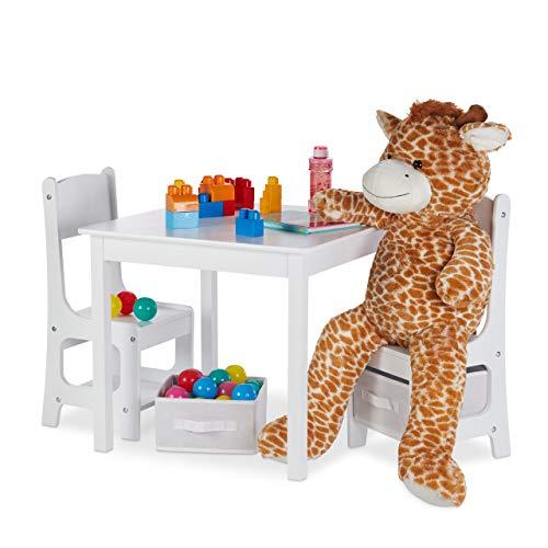 Relaxdays kindertafel met 2 stoelen, indoor zitgroep voor kinderen, met 2 opbergboxen, robuuste kindermeubels, MDF-hout, wit, stof, 53 x 60 x 60 cm
