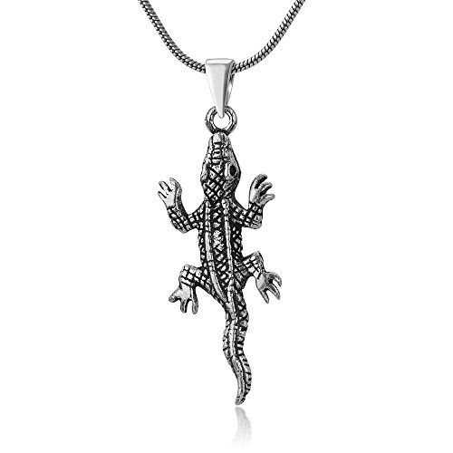 925 Oxidized Sterling Silver Little Iguana Lizard Gecko Pendant Necklace, 18 inches