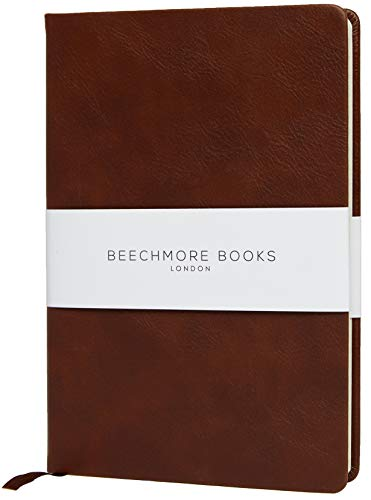 Ruled Notebook - Premium British A5 Journal by Beechmore Books | Hardcover Vegan Leather, Thick 120gsm Cream Paper, Professional Lined Notebook in Gift Box (Chestnut Brown)