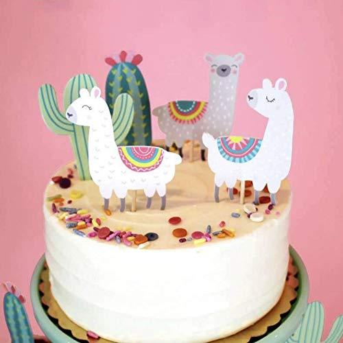 CheeseandU 50 Stück Alpaka-Deko Cupcake-Topper süßer Cartoon Kakteen Llama Muster Kuchen Toppers Geburtstag Party Cake Picks Decor Set 5 Styles