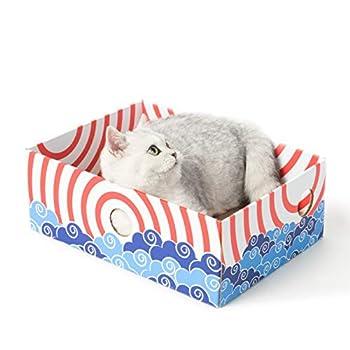 Conlun - boîte à gratter pour Chat - griffoir pour Chat ondulé Portable avec griffoir Chats Carton Double Face et Conception de Trou interactif