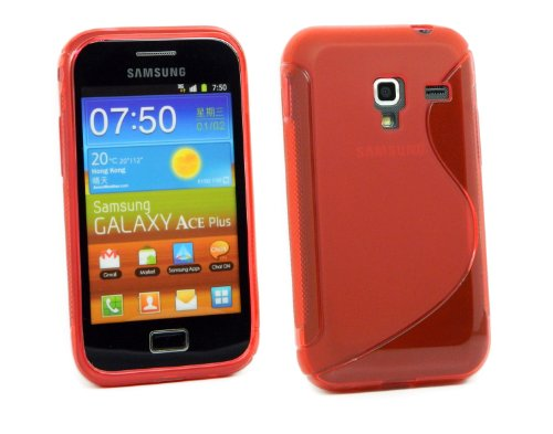 Kit Me Out IT - Samsung Galaxy Ace Plus S7500 Android - Protezione Custodia/Cover/Skin en Gel TPU - 'Le S' Rosso
